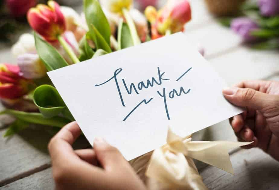 """Notecard that says """"thank you"""""""