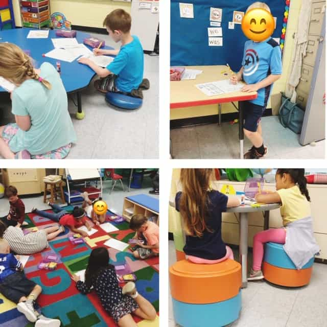 4 photos of children in different parts of the classroom participating in activites