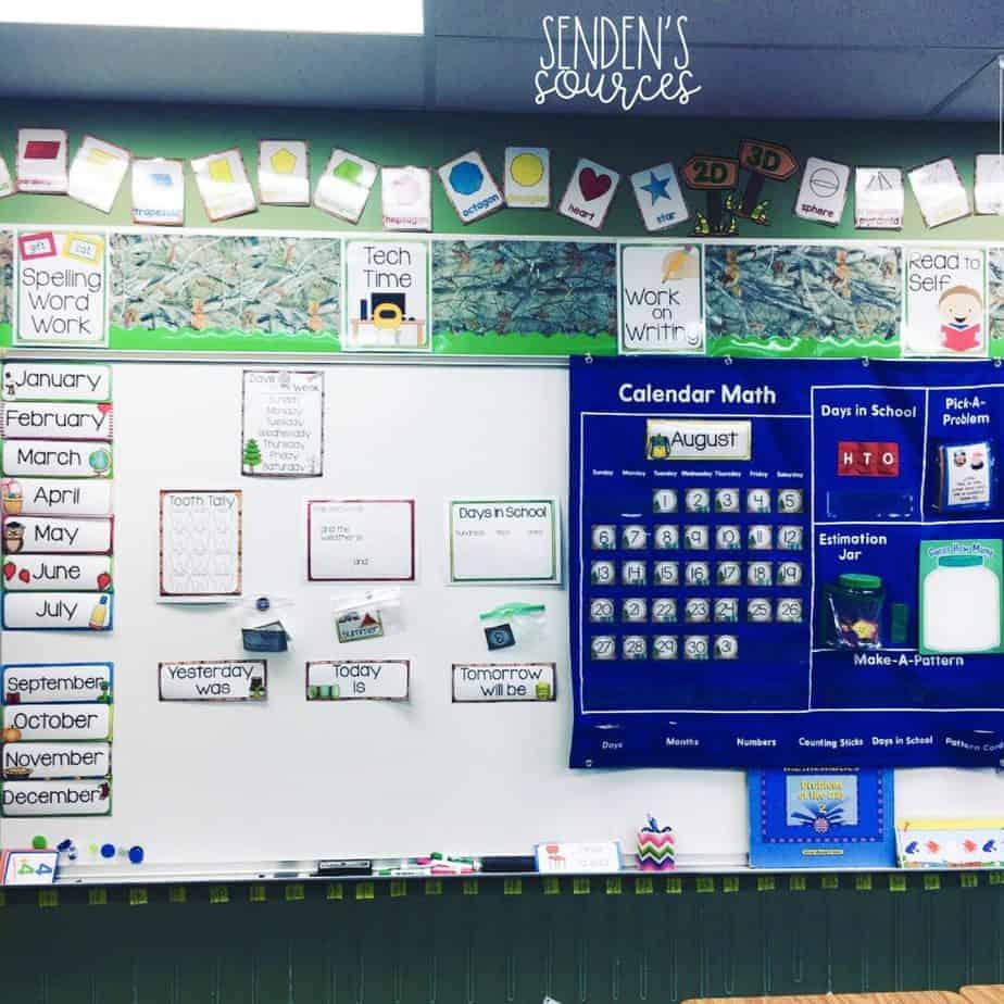 Classroom boards in nature decor