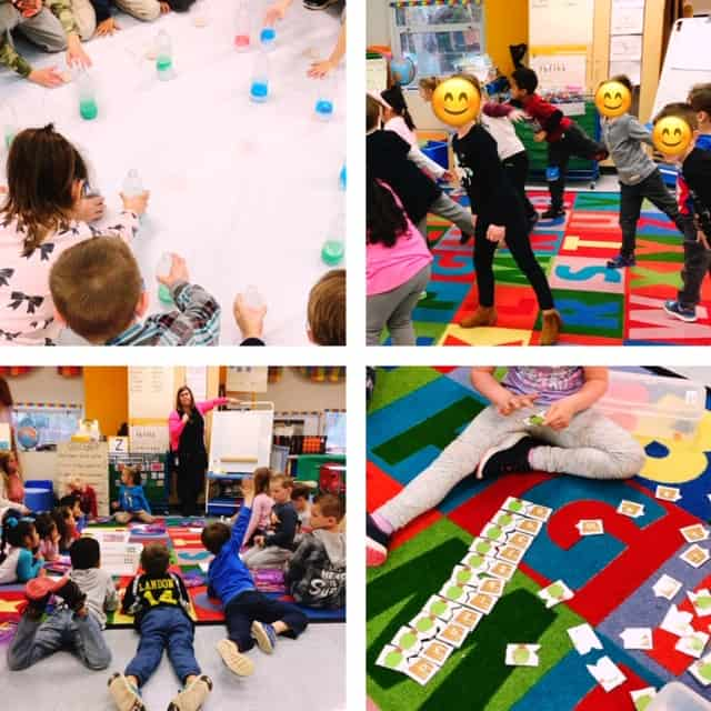 Four different pictures of children moving within the classroom and participating in activities