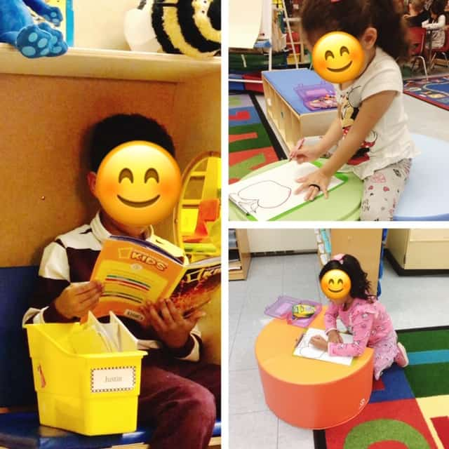 3 different pictures of children utilizing flexible work stations