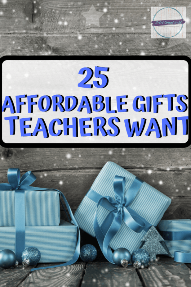 """Presents with title """"25 affordable gifts teachers want"""""""