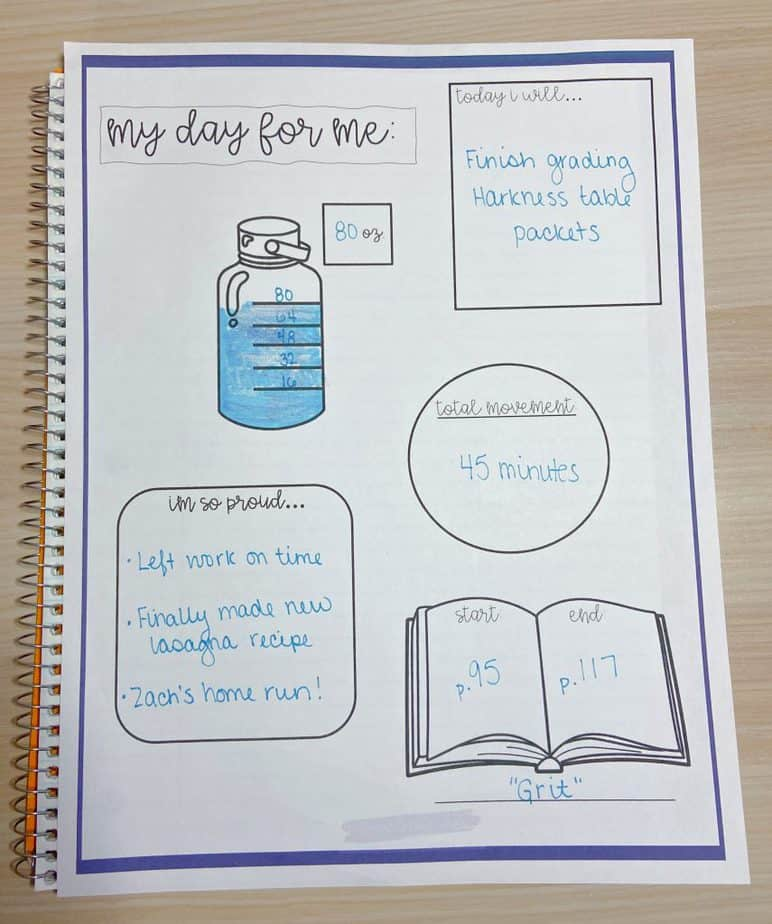 """My Day for Me"" planner insert"